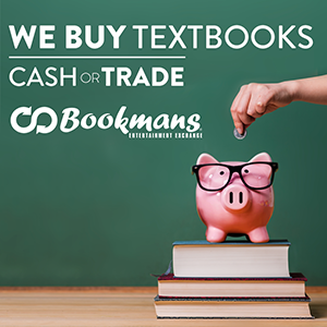 Bring your textbooks to bookmans with a piggy bank sitting on top of books