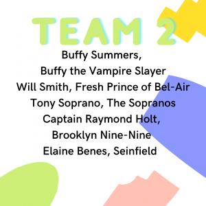 Quaranteam 2: Buffy Summers Buffy the Vampire Slayer, Will Smith Fresh Prince of Bel Air, Tony Soprano The Sopranos, Captain Raymond Holt Brooklyn Nine-Nine, Elaine Benes Seinfeld