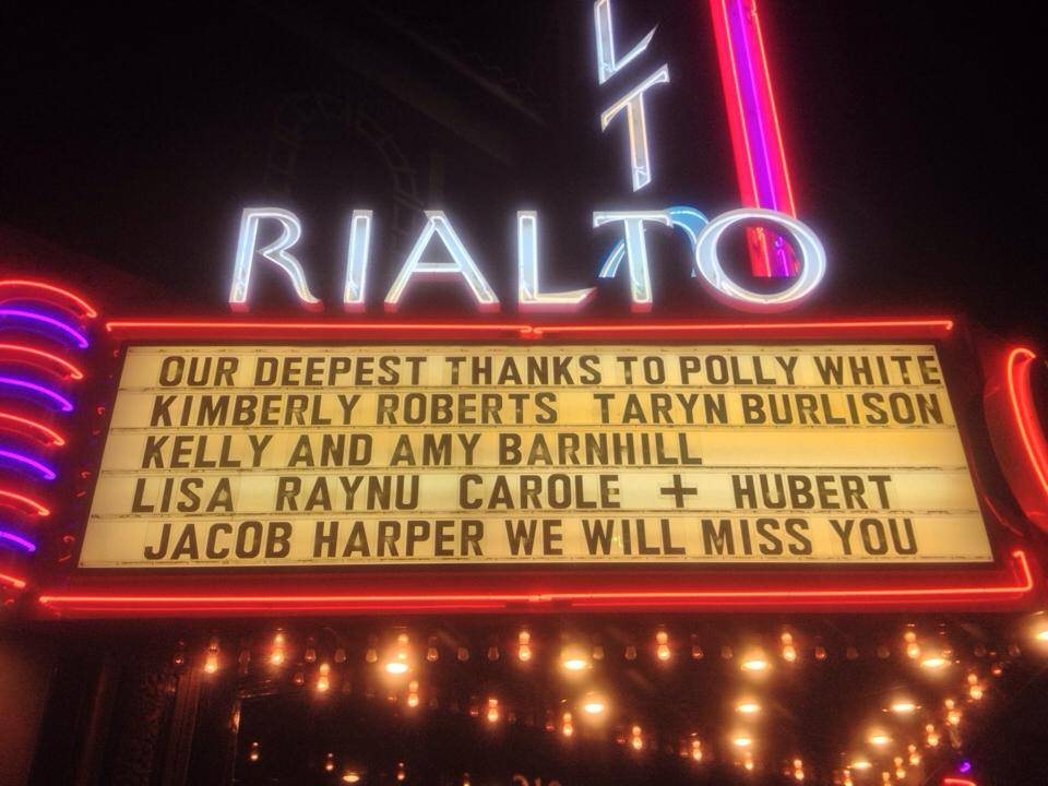 The Rialto Recognizes Jacob Harper