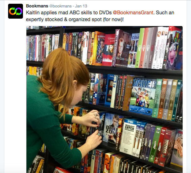 Kaitlin's Salad Days as a Bookmans Intern: Day 1, Shelving DVDs