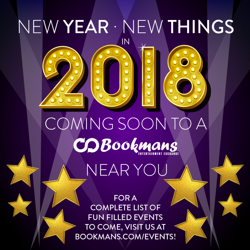 Bookmans New Year New Things for 2018 Poster