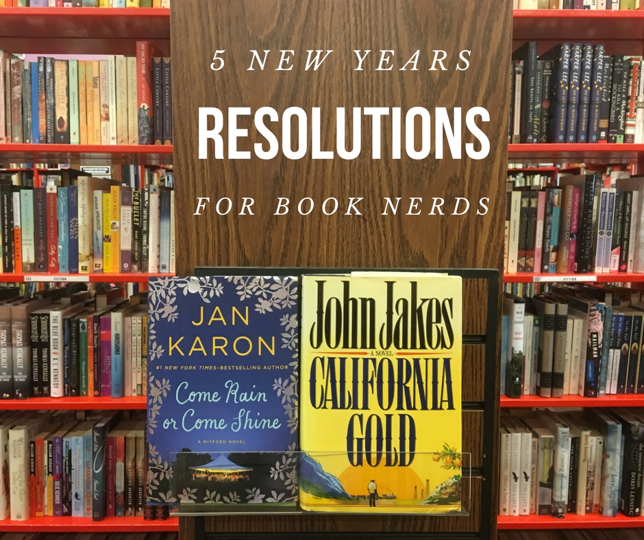 Book store shelves with blog title 5 New Years Resolutions for Book Nerds