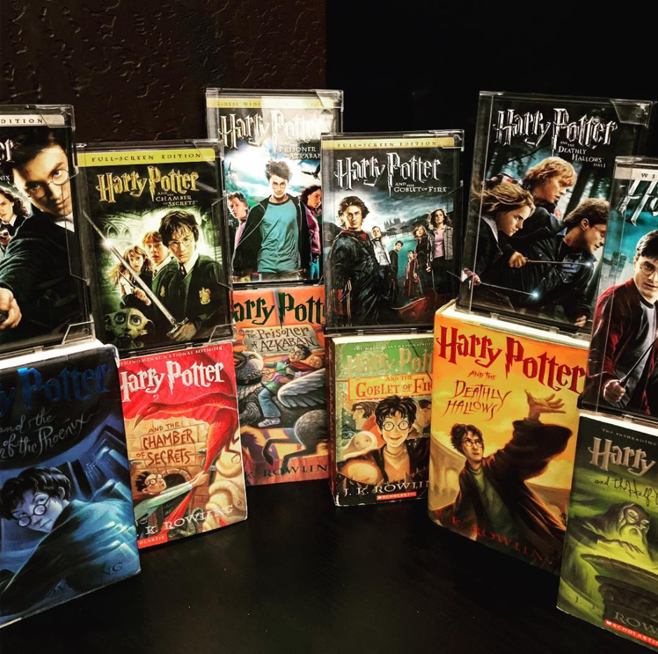 Harry Potter book and DVD collection with a black background