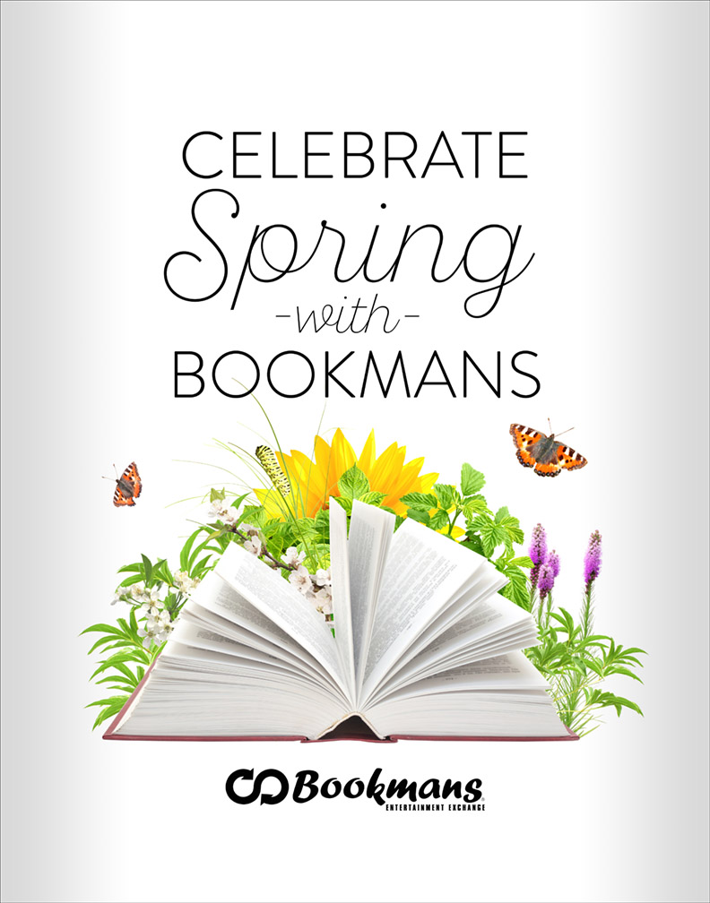 Celebrate Spring With Bookmans poster of a book, wildflowers, and butterflies