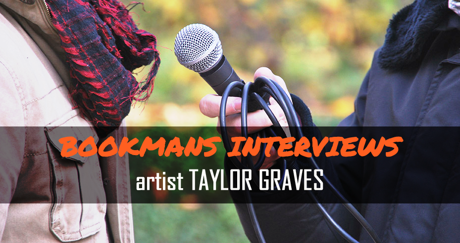 Bookmans Interviews artist Taylor Graves image of microphone interview with reporter
