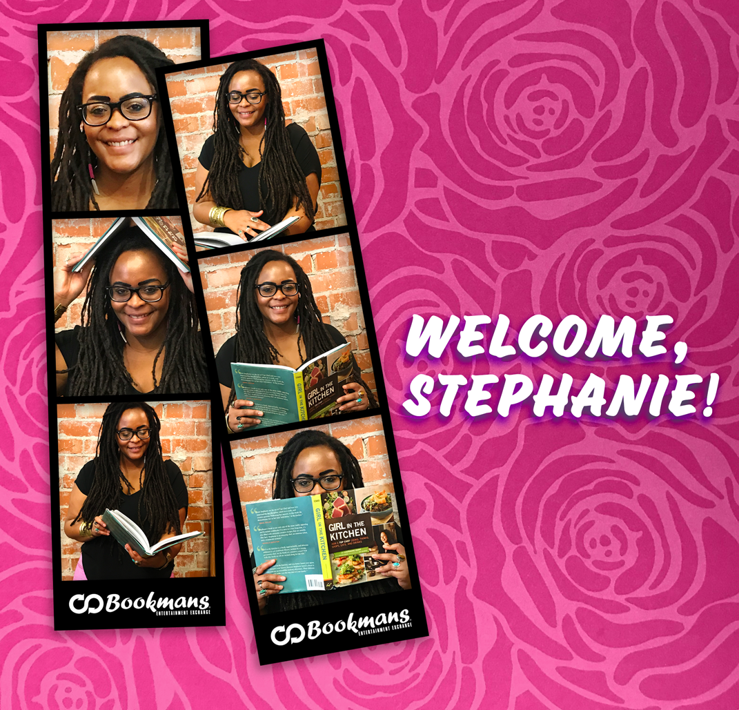 "Two photo booth sheets of Stephanie, Bookmans new Community Outreach Coordinator for Tucson. The image has a rose pattern background and reads ""Welcome Stephanie!"""