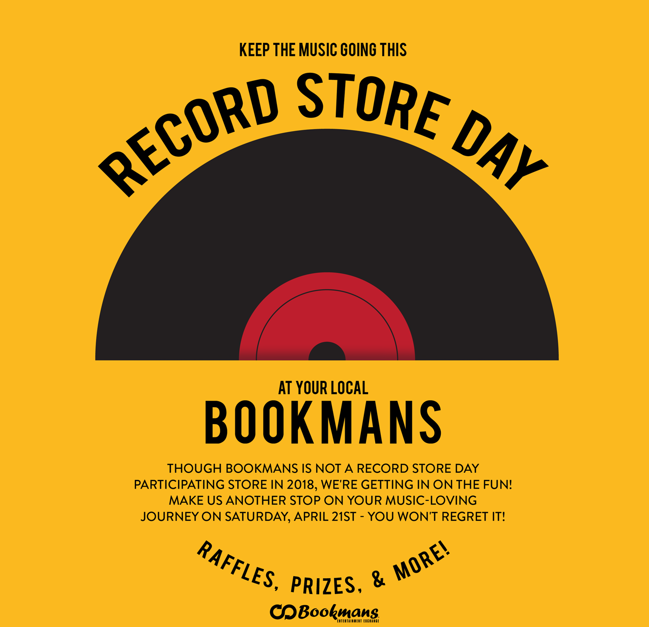 Bookmans Record Store Day sale and event flyer