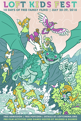 Loft Kids Fest poster featuring dragons and sea sea creatures having fun