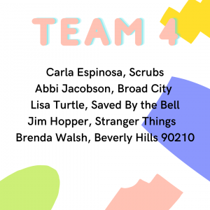 Quaranteam 4: Carla Espinosa Scrubs, Abbi Jacobson Broad City, Lisa Turtle Saved By the Bell, Jim Hopper Stranger Things, Brenda Walsh Beverly Hills 90210