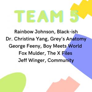 Quaranteam 5: Rainbow Johnshon Black-ish, Dr. Christina Yang Grey's Anatomy, George Feeny Boy Meets World, Fox Mulder The X-Files, Jeff Winger Community