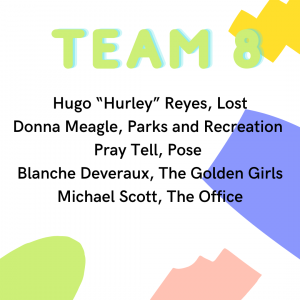 "quaranteam member list 8: Hugo ""Hurley Reyes Lost, Donna Meagle Parks and Recreation, Pray Tell Pose, Blanche Deveraux The Golden Girls Michael Scott The Office"