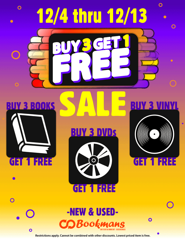 buy-three-get-one-free sale flyer on all books, dvds, and vinyl records december 4th through december 13