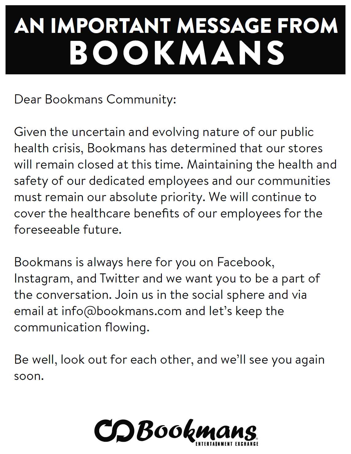 An Important Message From Bookmans Bookmans Entertainment Exchange