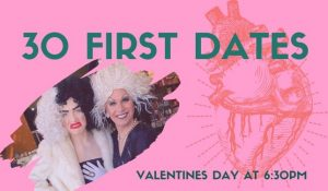 30 First Dates Bookmans Flagstaff event image featuring drag queens Jewel and Revelucion