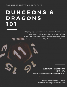20-sided dice for Dungeons and Dragons 101 event