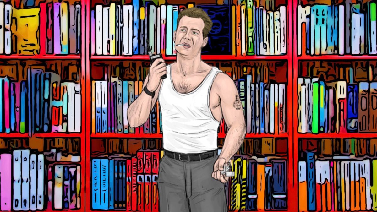 Illustration of John McClane in front of Bookmans orange bookshelves smoking a cigarette