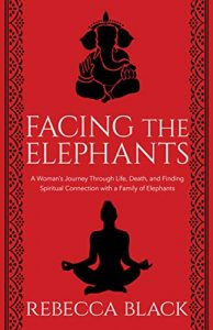 Facing the Elephants book cover by rebecca black featuring an elephant and a man in buddah prayer pose
