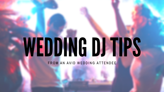 wedding dj tips from an avid wedding attendee image with blurred people dancing in the background