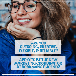 young woman with glasses in the background of an ad for Bookmans marketing coordinator