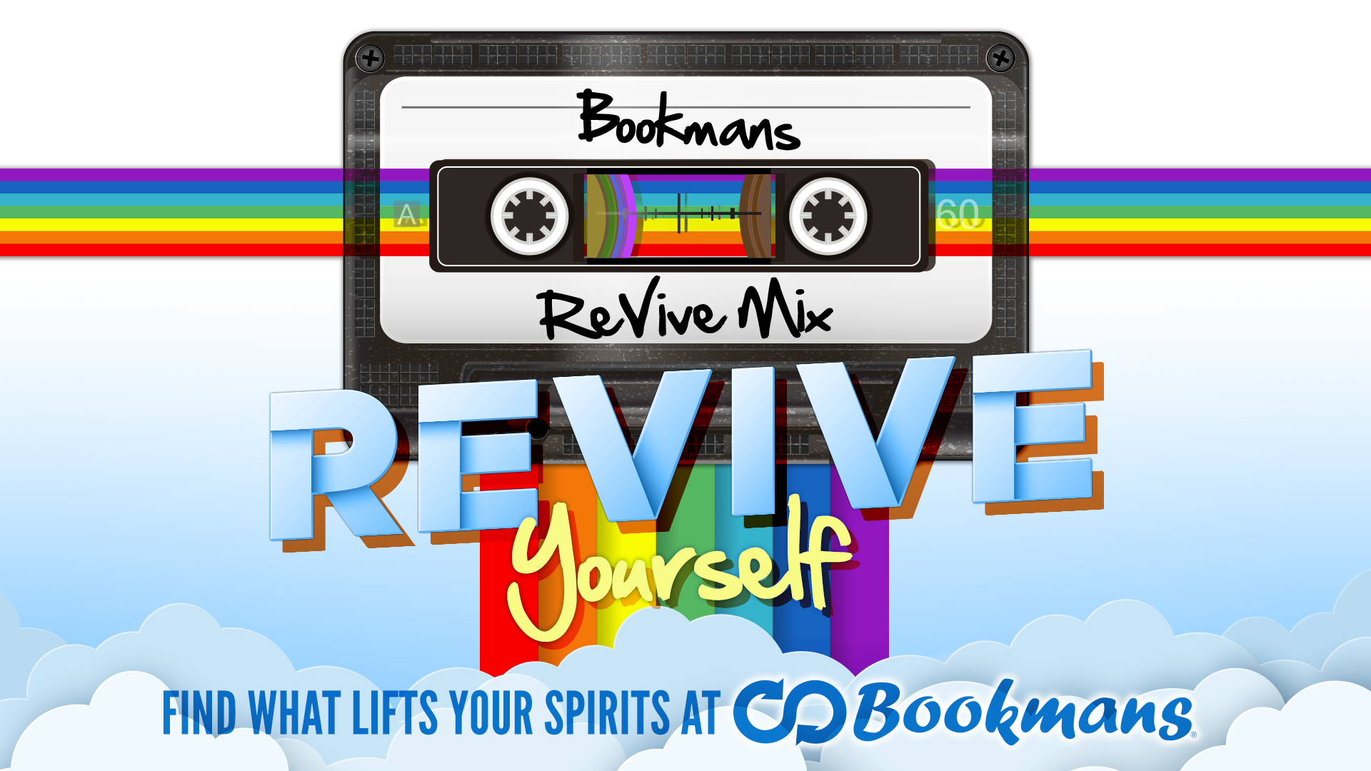 may theme bookmans revive yourself cassette tape with rainbows shooting through it