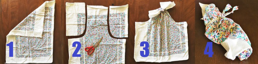 Photo instructions to turn an old pillowcase into a no sewing reusable shopping bag for Earth Day crafts
