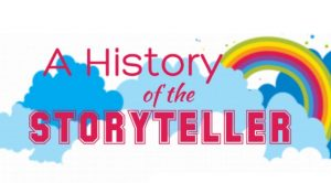 History of Storytelling with a rainbow and a cloud illustration