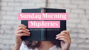 """a woman holds a book in front of her face, the cover reads """"Sunday Morning Mysteries"""""""