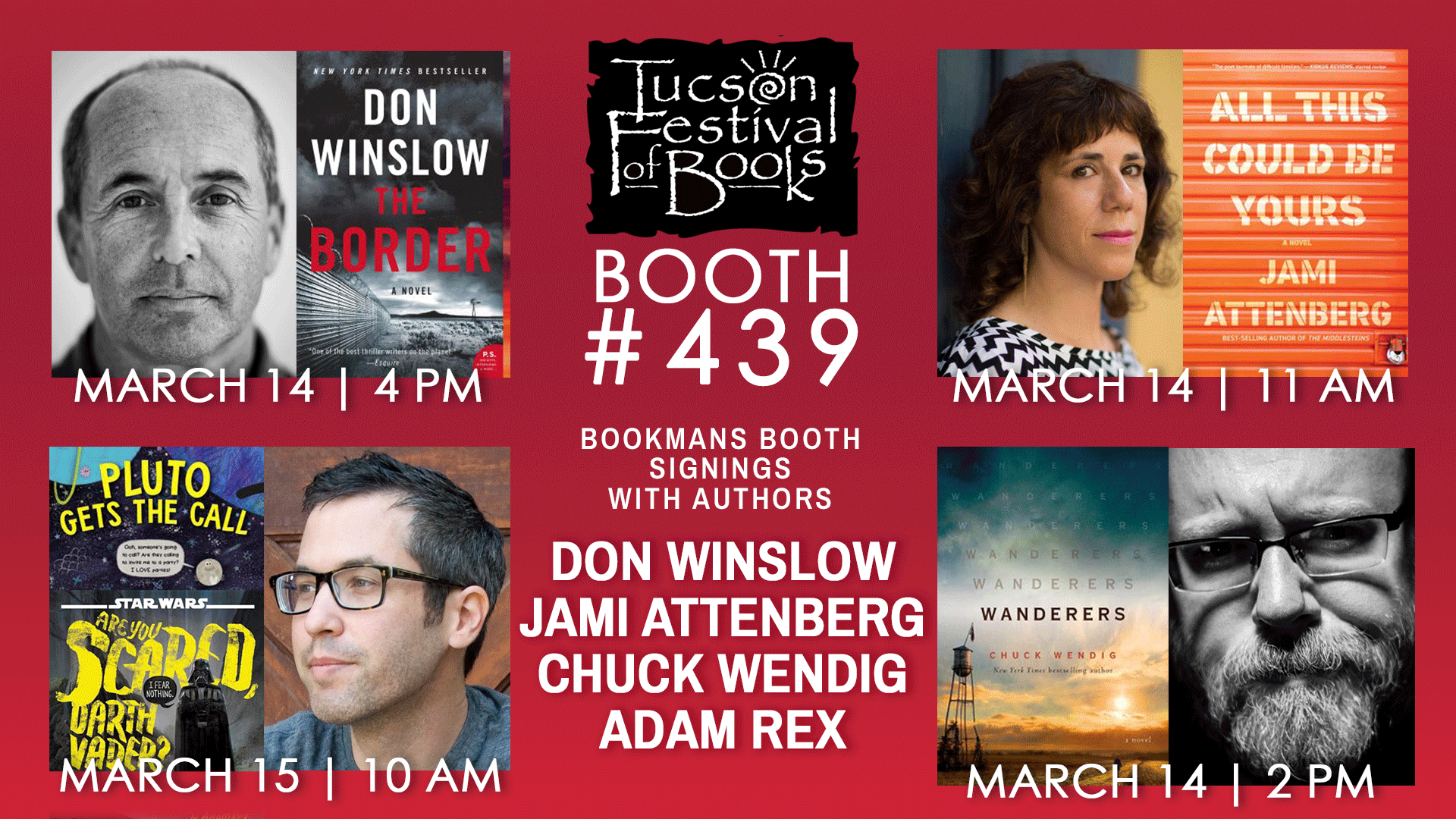 tucson festival of books bookmans booth 439 with book signings by don winslow jami attenberg chuck wendig adam rex