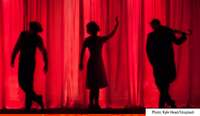 black hollywood firsts quiz featured image red curtain with three silhouettes of actors