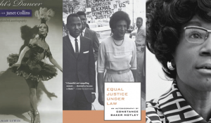 night dancer book cover, equal justice under the law book cover, and a portrait of shirley chisolm