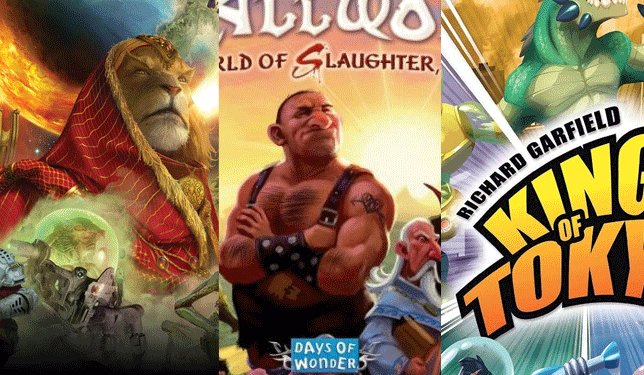 king of tokyo, small world, and twilight imperium board game cover images side by side