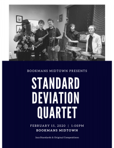 Bookmans Midtown Presents Standard Deviation Quartet and features an image of the band