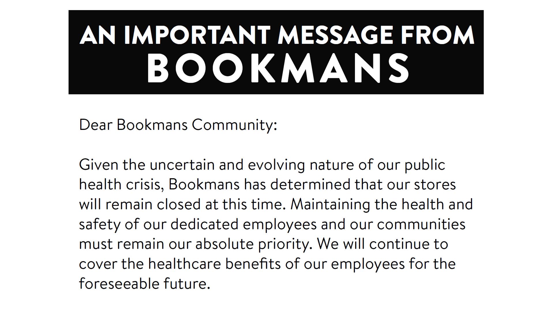 Bookmans store closure update covid-19 response