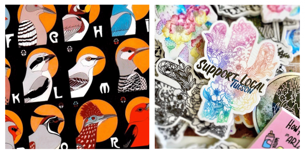 wil taylor art illustrated bird alphabet and cactus clouds art featuring tucson-themed stickers