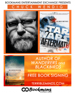 chuck wendig wanderers star wars aftermath book covers author signing and Q&A at Bookmans and TFOB 2020