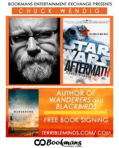 chuck wendig author signing at Bookmans