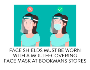 face shields must be worn with a face mask underneath
