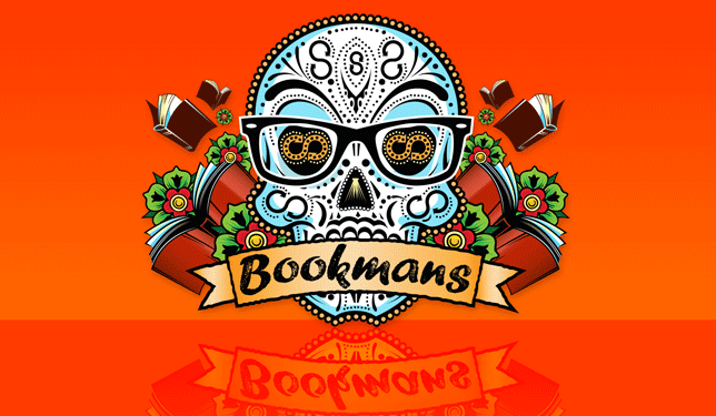 Bookmans sugar skull logo on orange background