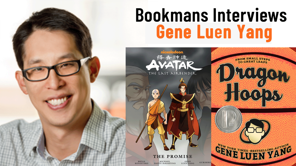 author gene luen yang with his books avatar and dragon hoops