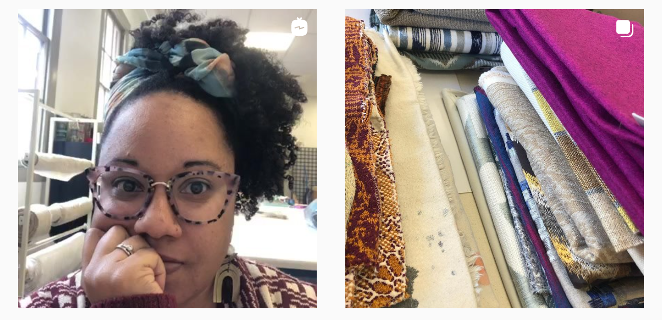 artist adia looking at the camera alongside multiple stacs of fabrics for jamille textiles