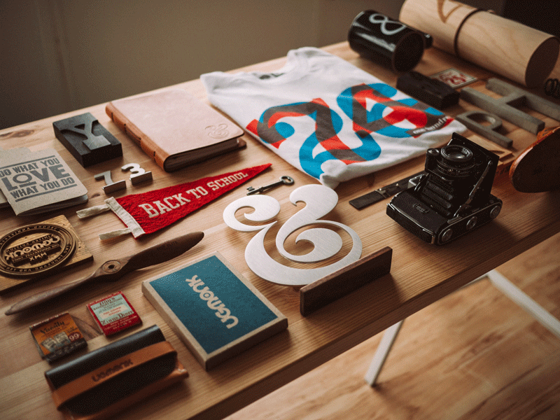 collection of objects on desk