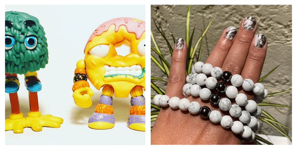 redesigned action figure toys and a woman's hand holding a long beaded black and white necklace