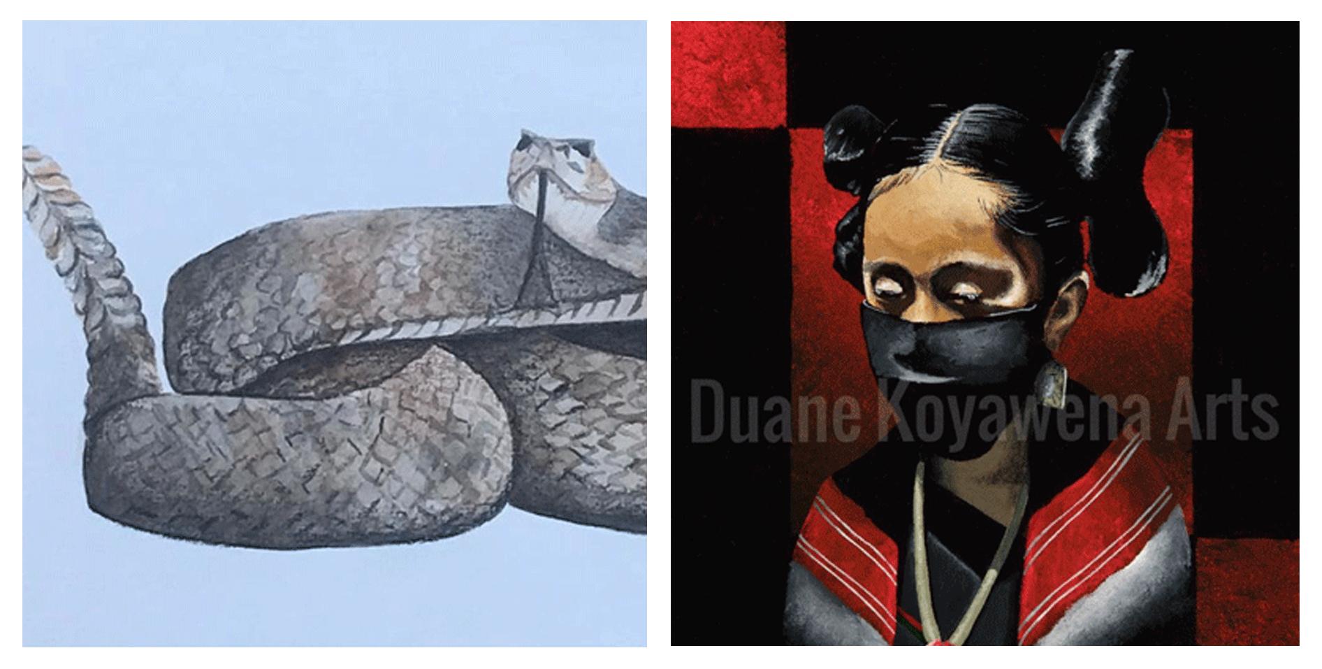 merci two deserts rattlesnake art and duane koyawena painting of hopi girl in red and black