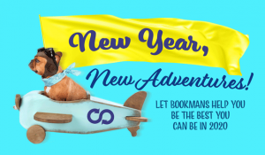 new year, new adventures featuring a small dog with goggles flying a plane
