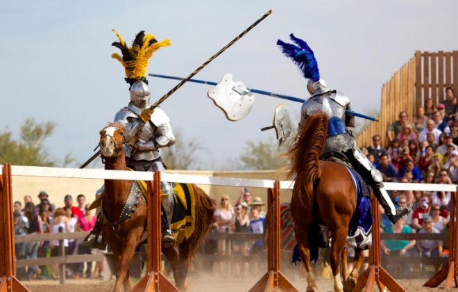Arizona Ren Fest knights dueling on horseback