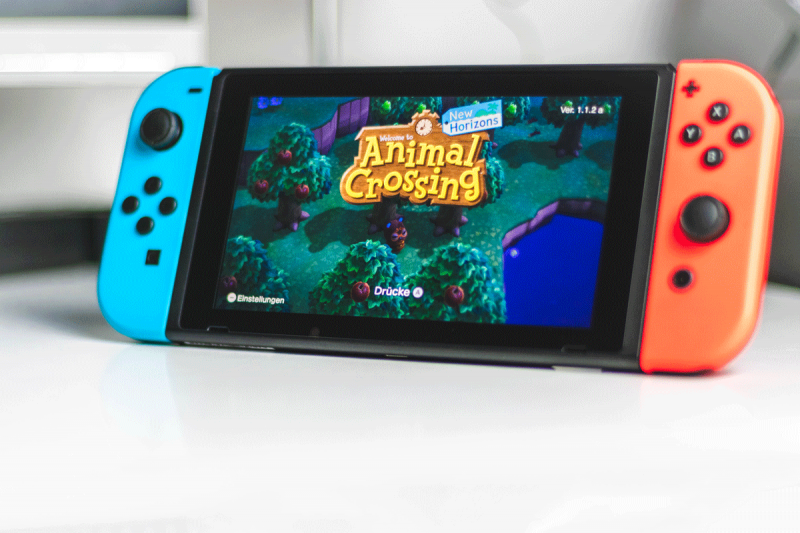 Nintendo Switch with Animal Crossing game loaded