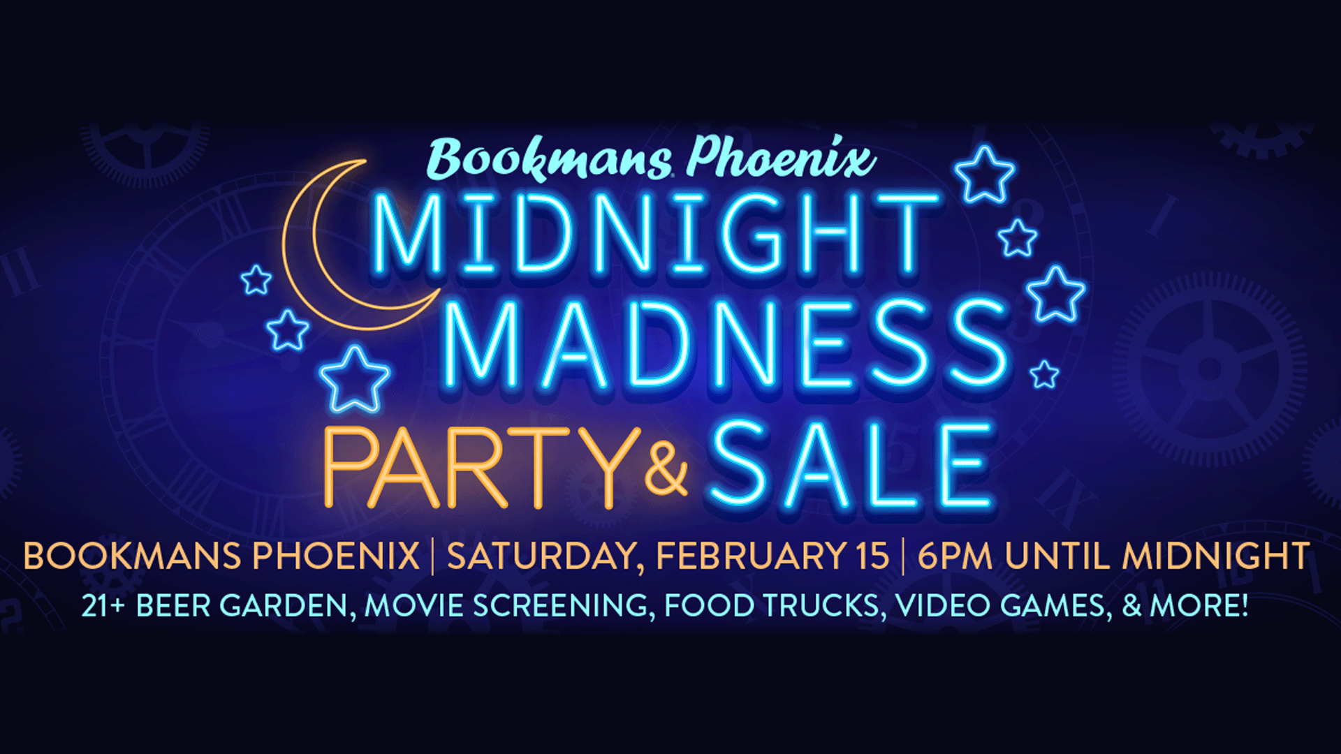midnight madness party and sale at bookmans phoenix february 15