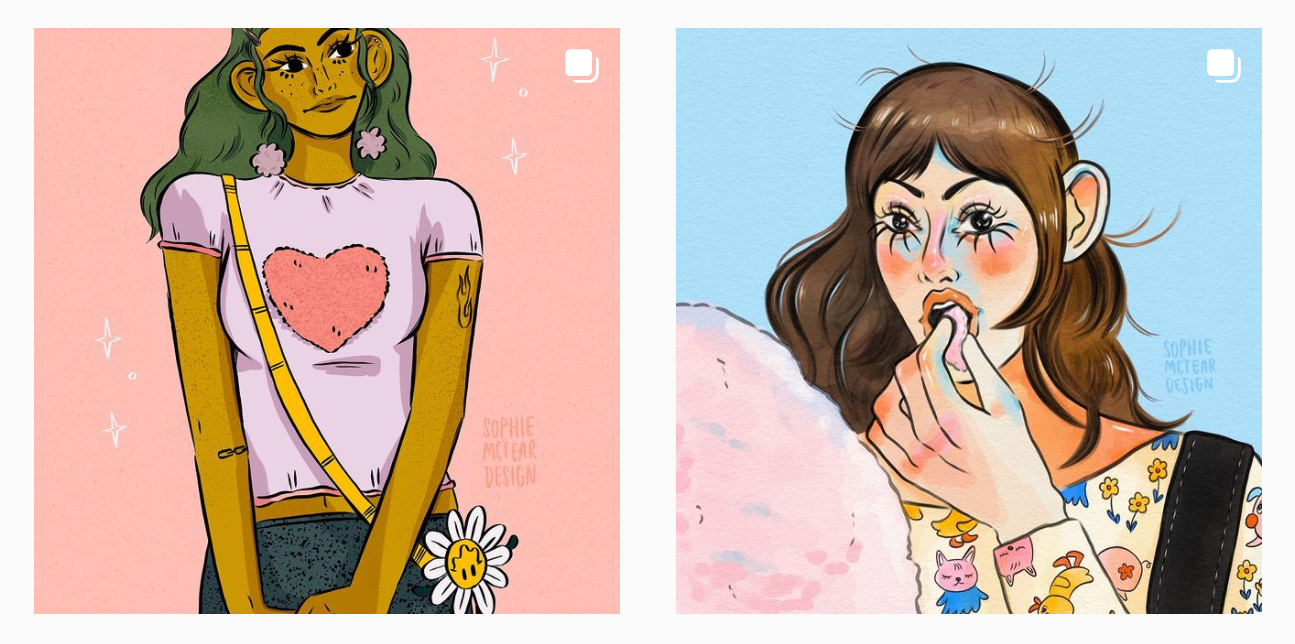 colorful illustrations of women by artist sophie mctear featured artists