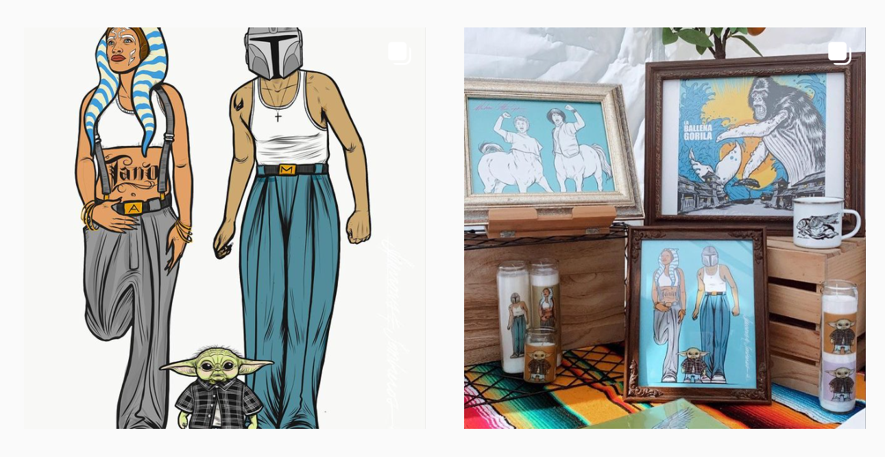 sparrows and sombreros art featuring ahsoka tano, grogu, and a display of printed artwork including candles and framed pictures featured artists