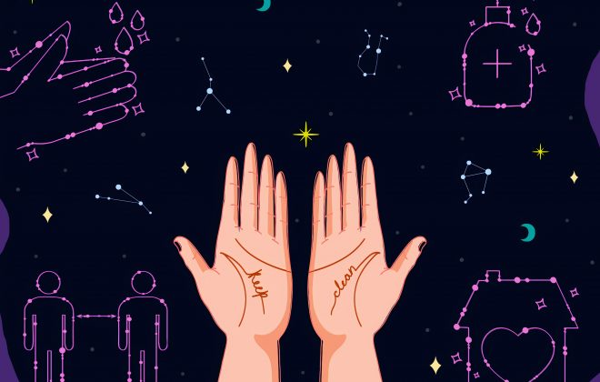 drawing of hands, stars, and constellations in the shape of covid-19 cleanliness icons